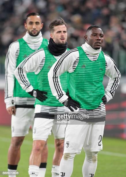 Kwadwo Asamoah Miralem Pjanic and Medhi Benatia of Juventus during the Italian Serie A football match Juventus and Inter on December 9 2017 at the...