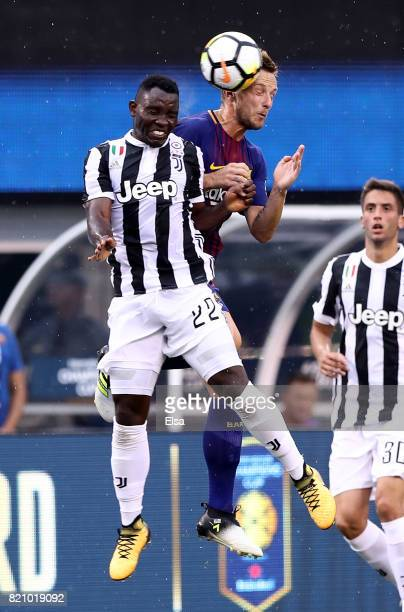 Kwadwo Asamoah of Juventus and Ivan Rakitic of Barcelona fight for the ball in the second half during the International Champions Cup 2017 on July 22...
