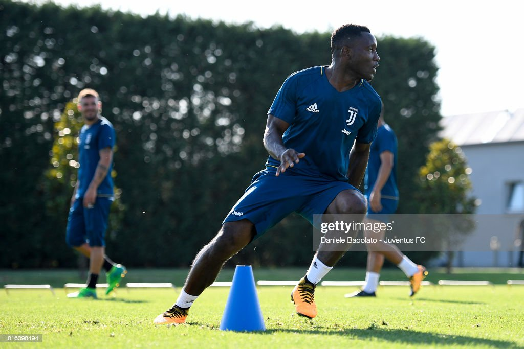 Kwadwo Asamoah of Juventus during a training session on July 17, 2017 in Vinovo, Italy.
