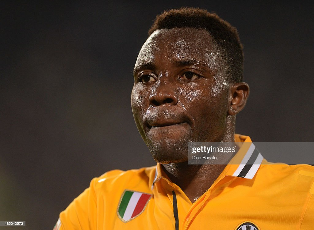 Kwadwo Asamoah of Juventus looks on during the Serie A match between Udinese Calcio and Juventus at Stadio Friuli on April 14, 2014 in Udine, Italy.