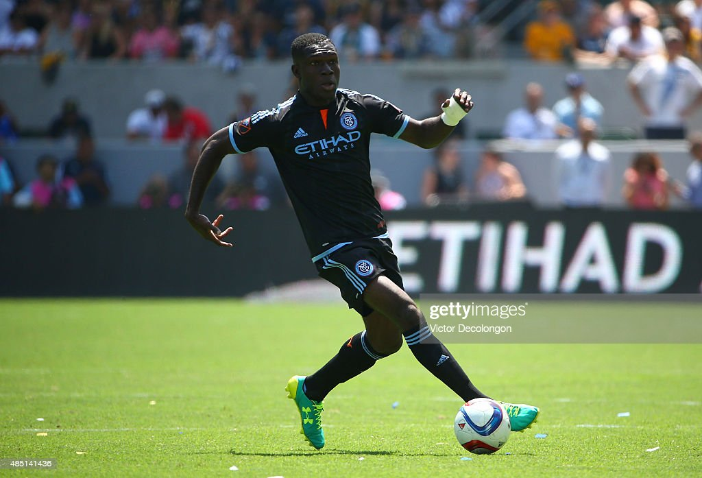 Kwadwo Poku #88 of New York City FC controls the ball in the first half during the MLS match against the Los Angeles Galaxy at StubHub Center on August 23, 2015 in Los Angeles, California. The Galaxy defeated NYCFC