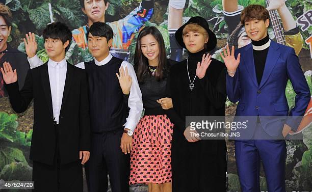 Kwak DongYeon Lee SiEon Lee HaNui Lee HongGi of FTIsland and Park MinWoo attend the SBS 'Modern Farmer' press conference at SBS Broadcasting Center...