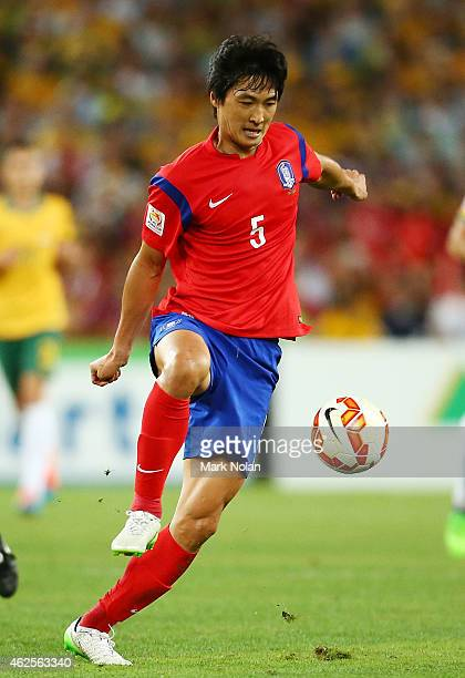 Kwak Taehwi of Korea Republic in action during the 2015 Asian Cup final match between Korea Republic and the Australian Socceroos at ANZ Stadium on...