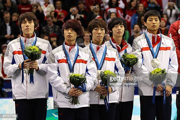 Kwak YoonGy Lee HoSuk Lee JungSu Sung SiBak and Kim SeoungIl of South Korea celebrate the silver medal after the Men's 5000m Relay Short Track Speed...
