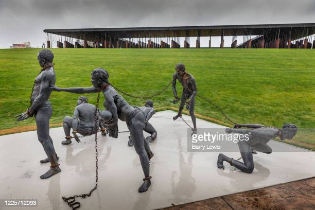 Kwame Akoto-Bamfo's 'Nkyinkim' sculpture, dedicated to the memory of the victims of the Transatlantic slave trade at the entrance of the National...