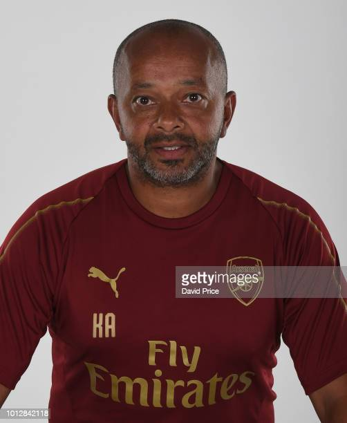 Kwame Ampadu the Head Coach of Arsenal U18s during the Arsenal Youth Team Photocall at London Colney on August 7 2018 in St Albans England