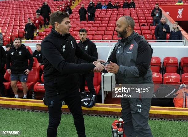 Kwame Ampadu the Manager of Arsenal U18s shakes hands with Steven Gerrard the Manager of Liverpool U18s before the FA Youth Cup 4th Round match...