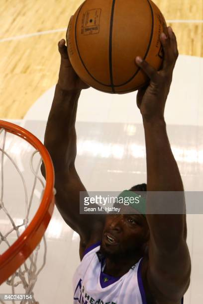Kwame Brown of 3 Headed Monsters dunks the ball against the Trilogy during the BIG3 three on three basketball league championship game on August 26...
