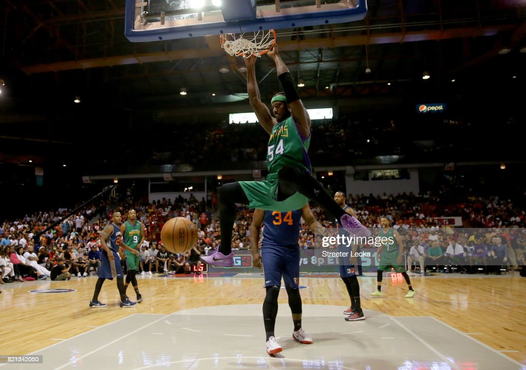 Kwame Brown #54 of the 3 Headed Monsters dunks against 3's Company during week five of the BIG3 three on three basketball league at UIC Pavilion on July 23, 2017 in Chicago, Illinois.