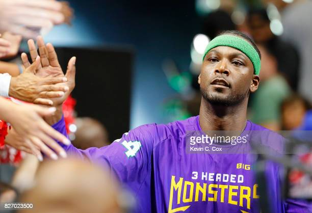 Kwame Brown of the 3 Headed Monsters is introduced during week seven of the BIG3 three on three basketball league at Rupp Arena on August 6 2017 in...