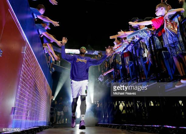 Kwame Brown of the 3 Headed Monsters is introduced to the crowd during week seven of the BIG3 three on three basketball league at Rupp Arena on...