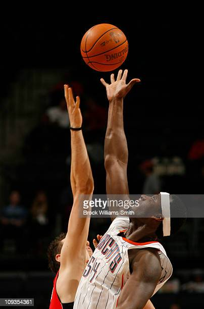 Kwame Brown of the Charlotte Bobcats goes up for a jump ball against the Toronto Raptors on February 22 2011 at Time Warner Cable Arena in Charlotte...