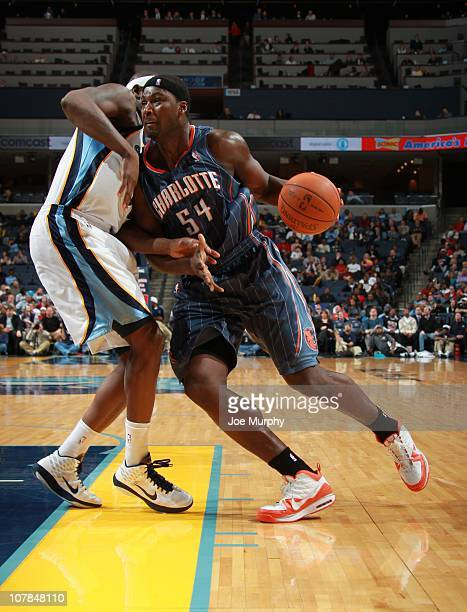 Kwame Brown of the Charlotte Bobcats handles the ball during a game against the Memphis Grizzlies on December 15 2010 at the FedExForum in Memphis...