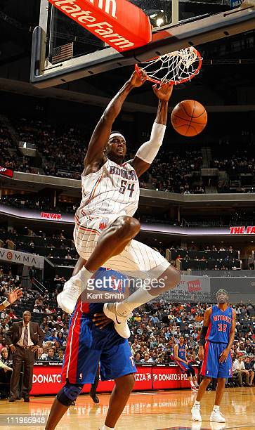 Kwame Brown of the Charlotte Bobcats puts down a dunk against the Detroit Pistons on April 10 2011 at Time Warner Cable Arena on the practice court...