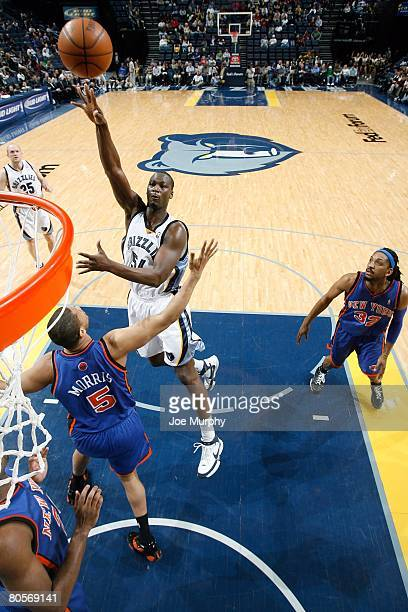 Kwame Brown of the Memphis Grizzlies puts a shot up over Randolph Morris of the New York Knicks during the game on April 2 2008 at FedExForum in...