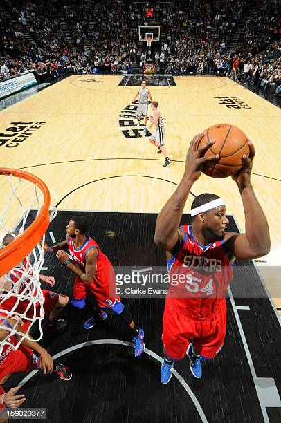 Kwame Brown of the Philadelphia 76ers reboubnds during the game between the Philadelphia 76ers and the San Antonio Spurs on January 5 2013 at the ATT...