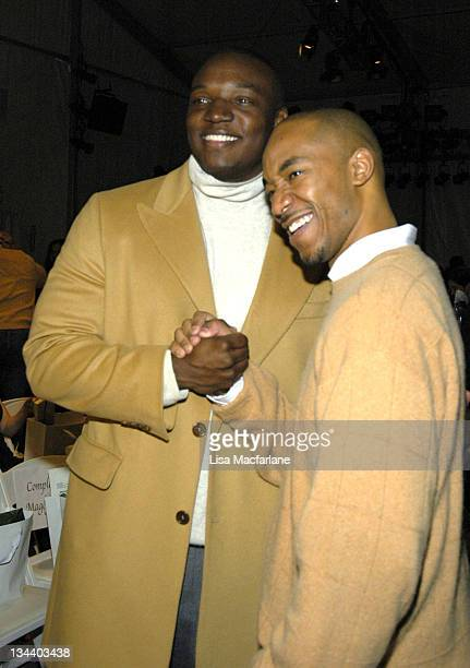 Kwame Jackson and Datwon Thomas during Olympus Fashion Week Fall 2006 Michael Wesetly Front Row at Bryant Park in New York City New York United States