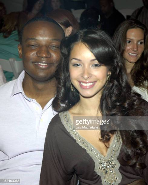 Kwame Jackson and guest during Olympus Fashion Week Spring 2006 Michael Westley Front Row at Bryant Park in New York City New York United States