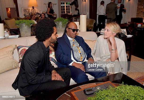 Kwame Morris UN Messenger of Peace Stevie Wonder and actress Sharon Stone attend the special event for UN SecretaryGeneral Ban Kimoon hosted by Brett...