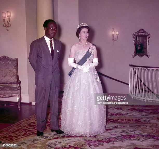 Kwame Nkrumah president of Ghana and Queen Elizabeth II at a Diplomatic Corps reception in Accra on 11th November 1961