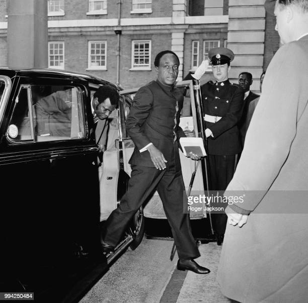 Kwame Nkrumah President of Ghana arrives at Marlborough House in London for the last day of the Commonwealth Prime Ministers' Conference 25th June...