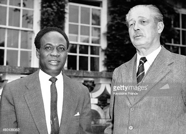 Kwame Nkrumah Prime Minister of Ghana and Harold Macmillan British Prime Minister in his country house on August 4 1958 in Chelwood United Kingdom