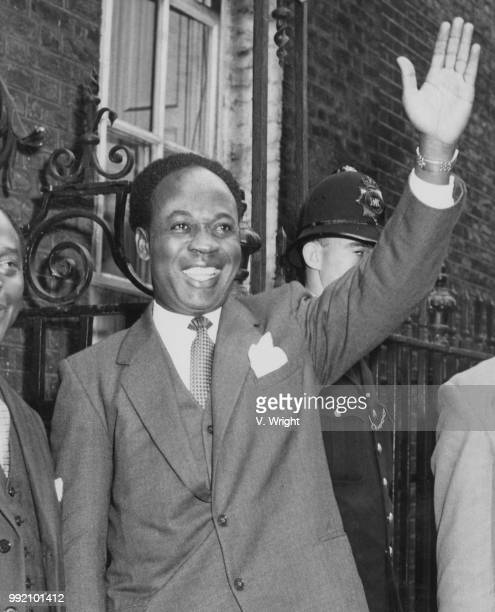 Kwame Nkrumah Prime Minister of Ghana arrives at 10 Downing Street for lunch with British Prime Minister Harold Macmillan 10th August 1959 He will...