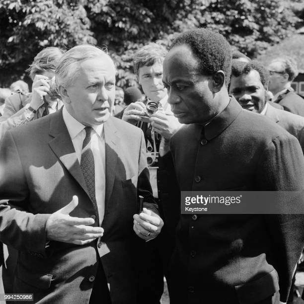 Kwame Nkrumah , Prime Minister of Ghana, chats to British Prime Minister Harold Wilson in the garden of Marlborough House, London, at the opening of...