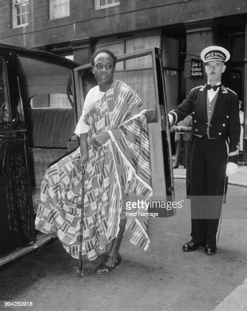 Kwame Nkrumah Prime Minister of Ghana leaves Grosvenor House for Buckingham Palace during a fiveday visit to the UK 6th August 1958