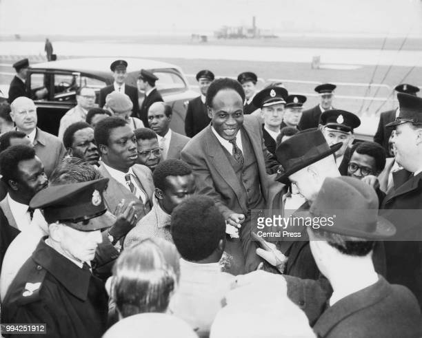 Kwame Nkrumah the Prime Minister of Ghana arrives at London Airport for the Commonwealth Prime Ministers' Conference which opens two days later 1st...
