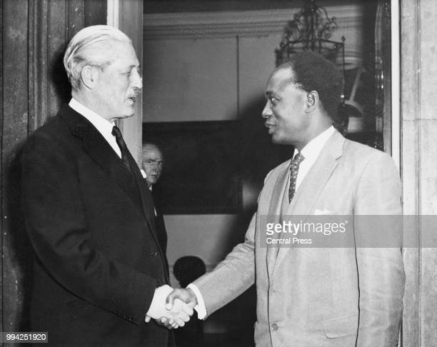Kwame Nkrumah the Prime Minister of Ghana bids farewell to British Prime Minister Harold Macmillan as he leaves 10 Downing Street 2nd May 1960...