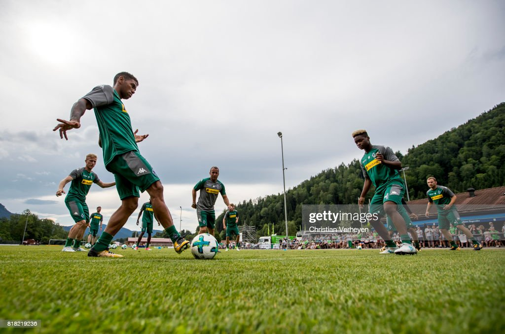 Kwame Yeboah and Ba-Muaka Simakala during a training session at the Training Camp of Borussia Moenchengladbach on July 18, 2017 in Rottach-Egern, Germany.