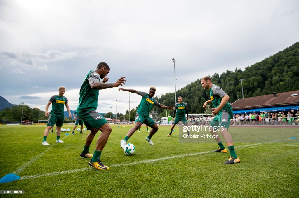 Kwame Yeboah, Ba-Muaka Simakala and Tony Jantschke during a training session at the Training Camp of Borussia Moenchengladbach on July 18, 2017 in Rottach-Egern, Germany.
