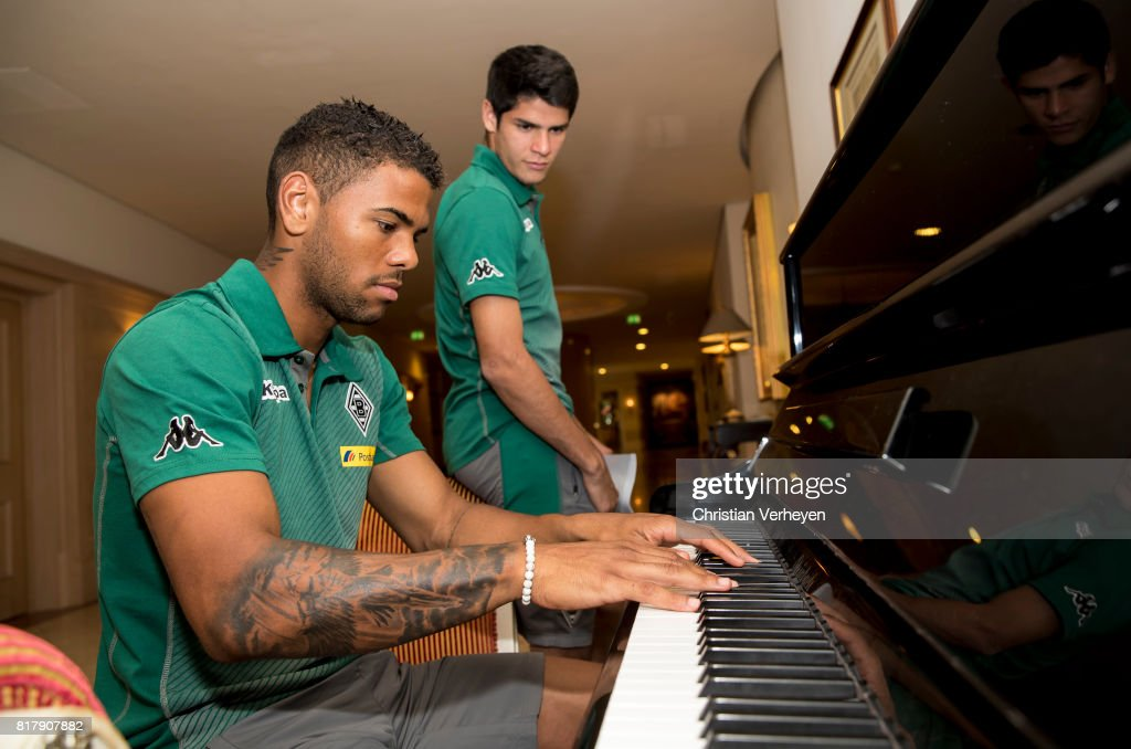 Kwame Yeboah of Borussia Moenchengladbach plays piano after a training session at the Training Camp of Borussia Moenchengladbach on July 18, 2017 in Rottach-Egern, Germany.