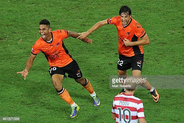 Kwame Yeboah of the Roar celebrates a goal with Thomas Broich during the round seven ALeague match between the Brisbane Roar and the Western Sydney...