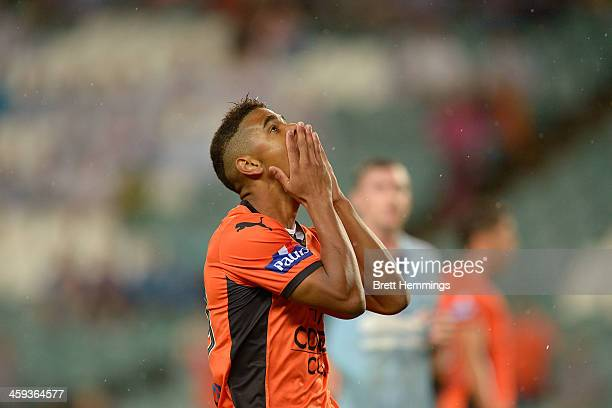 Kwame Yeboah of the Roar shows his dejection during the round 12 ALeague match between Sydney FC and Brisbane Roar at Allianz Stadium on December 26...