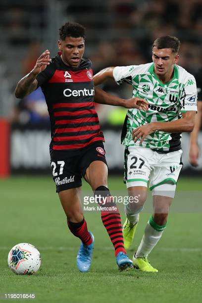 Kwame Yeboah of the Wanderers and Jerry Skotadis of United compete for the ball during the round 11 WLeague match between the Western Sydney...
