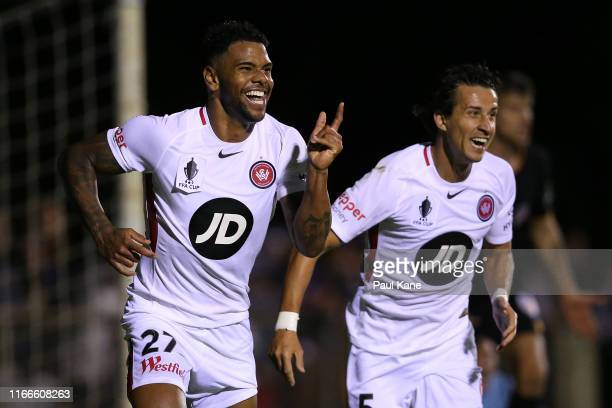 Kwame Yeboah of the Wanderers celebrates a goal during the FFA Cup Round of 32 match between Perth Glory and the Western Sydney Wanderers FC at...