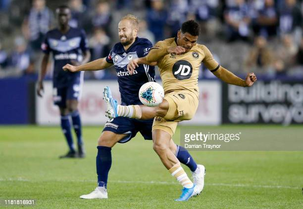 Kwame Yeboah of the Wanderers kicks the ball during the round two A-League match between Melbourne Victory and the Western Sydney Wanderers at Marvel...