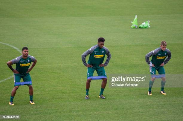 Kwame Yeboah Reece Oxford and Mickael Cuisance during a training session of Borussia Moenchengladbach at BorussiaPark on July 02 2017 in...