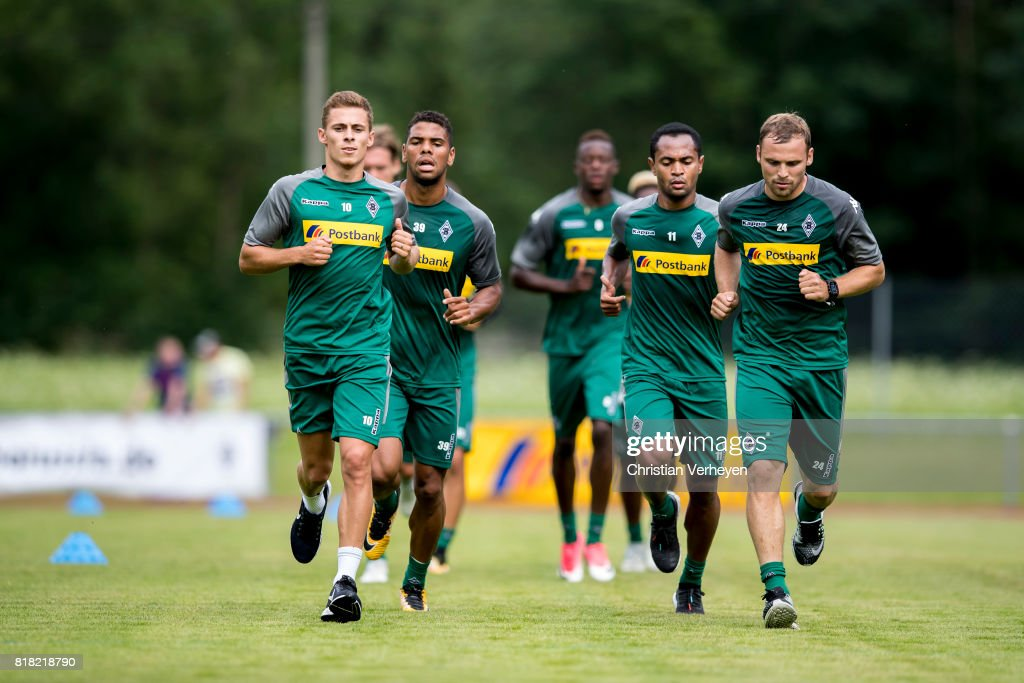 Kwame Yeboah, Thorgan Hazard, Raffael and Tony Jantschke run during a training session at the Training Camp of Borussia Moenchengladbach on July 18, 2017 in Rottach-Egern, Germany.