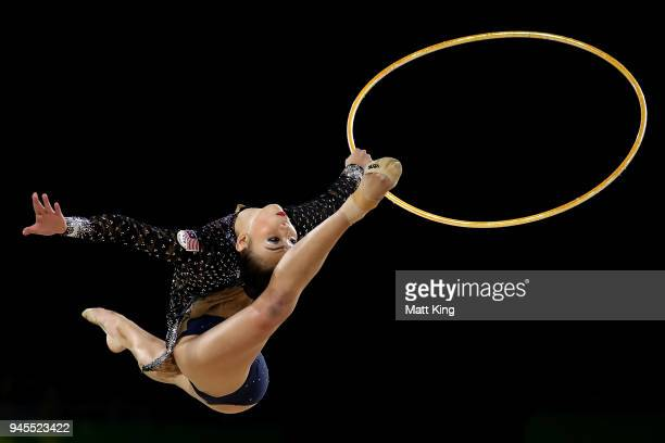 Kwan Dict Weng of Malaysia competes during the Rhythmic Gymnastics on day nine of the Gold Coast 2018 Commonwealth Games at Coomera Indoor Sports...