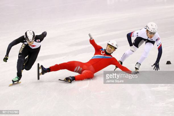 Kwang Bom Jong of North Korea crashes out during the Men's Short Track Speed Skating 500m Heats on day eleven of the PyeongChang 2018 Winter Olympic...