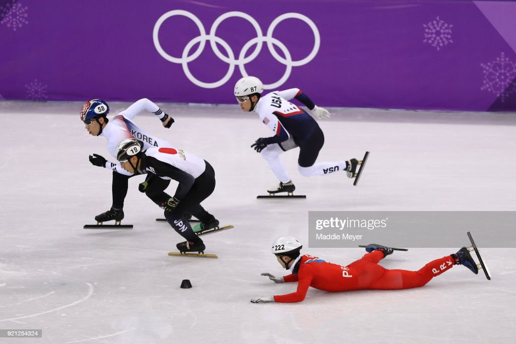Kwang Bom Jong of North Korea crashes out during the Men's Short Track Speed Skating 500m Heats on day eleven of the PyeongChang 2018 Winter Olympic Games at Gangneung Ice Arena on February 20, 2018 in Gangneung, South Korea.