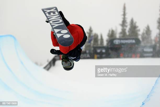 Kwang Ki Lee of Korea competes in a qualifying round of the FIS Snowboard World Cup 2018 Men's Snowboard Halfpipe during the Toyota US Grand Prix on...