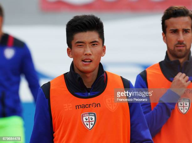 Kwang Song Han of Cagliari Calcio before the Serie A match between SSC Napoli and Cagliari Calcio at Stadio San Paolo on May 6 2017 in Naples Italy