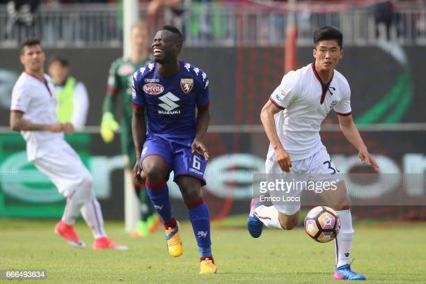 Kwang Song Han of Cagliari in action during the Serie A match between Cagliari Calcio and FC Torino at Stadio Sant'Elia on April 9 2017 in Cagliari...