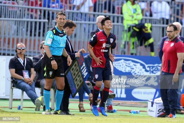 Kwang song Han of Cagliari in action during the Serie A match between Cagliari Calcio and Empoli FC at Stadio Sant'Elia on May 14 2017 in Cagliari...