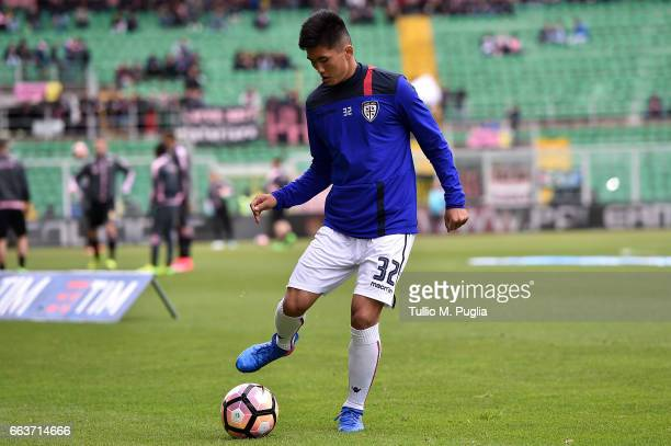Kwang Song Han of Cagliari warmsup before the Serie A match between US Citta di Palermo and Cagliari Calcio at Stadio Renzo Barbera on April 2 2017...