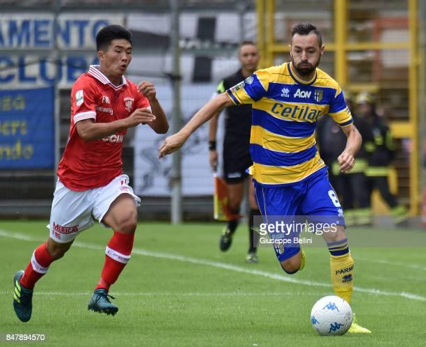 Kwang Song Han of Perugia Calcio and Luigi Alberto Scaglia of Parma Calcio in action during the Serie B match between Perugia Calcio and Parma Calcio...